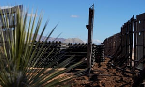 A border wall construction site is seen mostly abandoned after Joe Biden signed an executive order halting construction in Sunland Park, New Mexico, on 22 January.
