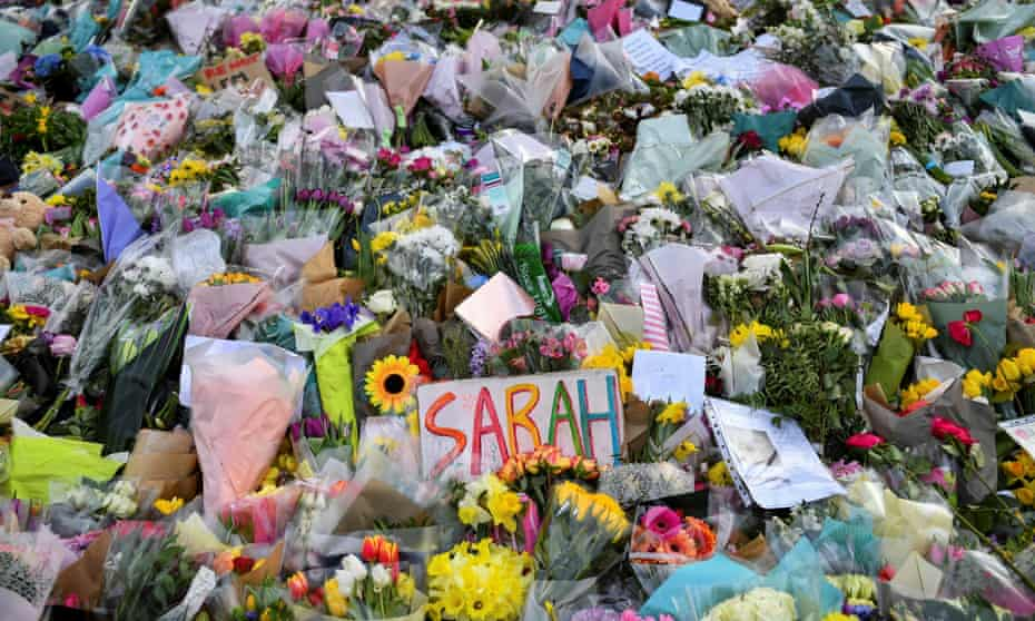 Flowers and messages in memory of Sarah Everard following her kidnap and murder by a serving officer in March 2021.