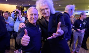 New Horizons principal investigator Alan Stern (left) with Queen's Brian May.