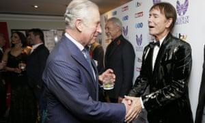 Prince Charles greets Cliff Richard at the awards.