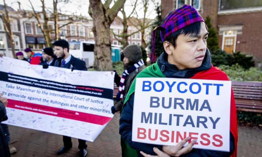 Protesters demonstrate in The Hague against the Myanmar military crackdown on the Rohingya Muslim minority.