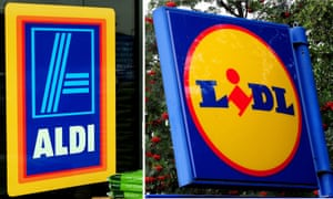 The logos for Aldi and Lidl