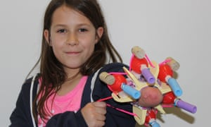 Jordan Reeves, 10, with Project Unicorn, her five-nozzle glitter shooter.