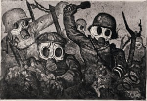 Assault Troops Advance Under Gas, 1924 by Otto Dix.