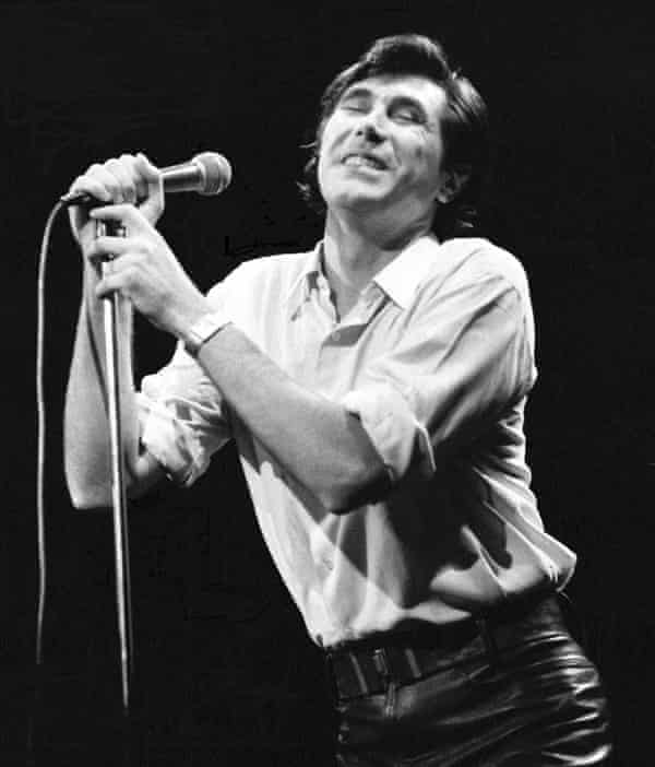 Abstract take on emotion … Bryan Ferry performing with Roxy Music in 1974.