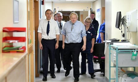 Prime minister Boris Johnson and health secretary Matt Hancock visit Bassetlaw District General Hospital in Worksop, Nottinghamshire, during the election campaign in November.