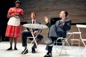 Claire Prempeh, Benedict Cumberbatch and Jasper Britton in Rhinoceros, Royal Court, London, 2007.