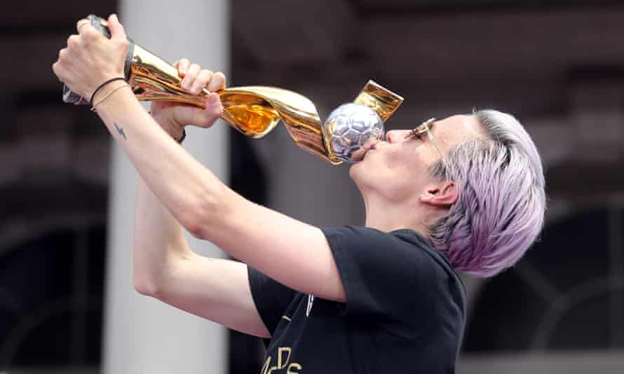 Megan Rapinoe with the World Cup trophy in New York City.
