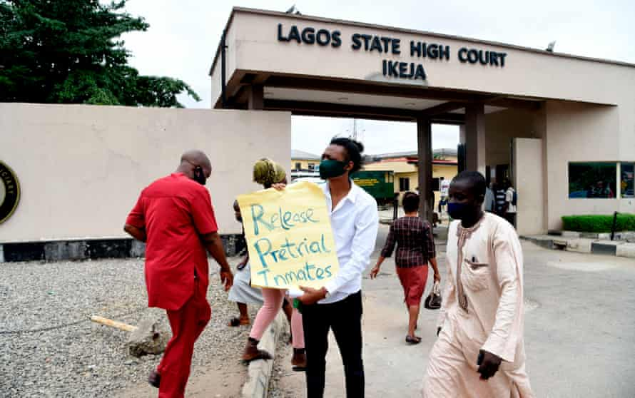 A rights activist outside Nigeria's state high court, August 2020.