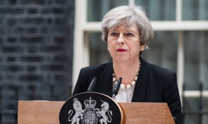Theresa May speaking outside No 10