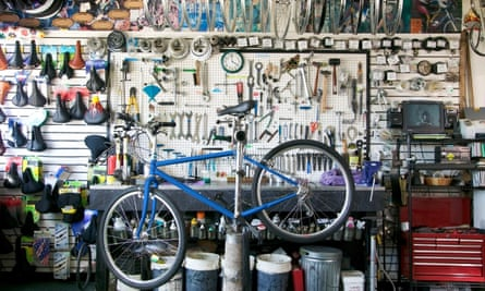 Wall of a bicycle repair shop