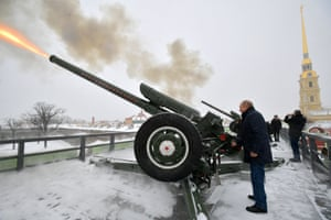 St. Petersburg, RussiaPresident Vladimir Putin fires an artillery piece at noon as part of a long standing tradition, during his visit to the Peter and Paul Fortress.