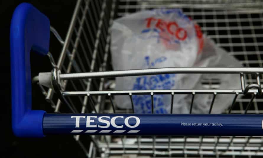 Tesco trolley and plastic bag
