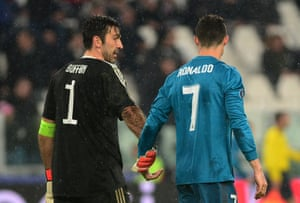 Ronaldo and Gianluigi Buffon at the end of the match.