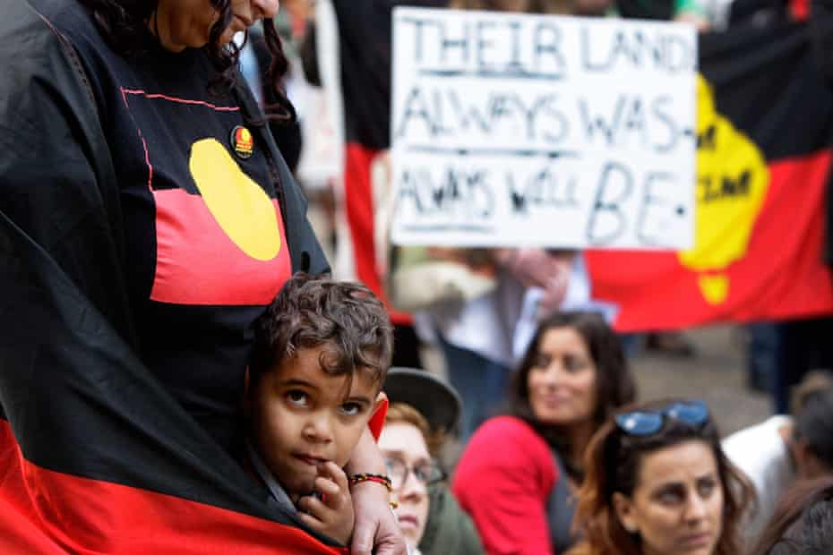 Indigenous protesters in Sydney in 2015, rallying against plans to close communities in Western Australia.