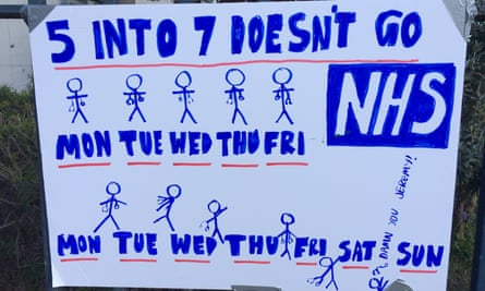 Poster protesting about seven-day working at King's College hospital, south London