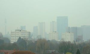 dust particles and pollution from cars hanging over Birmingham