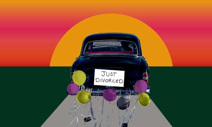 A car with a 'Just Divorced' sign on the back drives off into the sunset