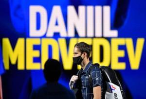 Daniil Medvedev arrives before his semi-final match against Spain's Rafael Nadal.