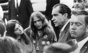 Richard Nixon mingles with anti-war protesters
