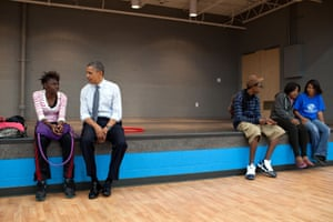 June 14: 'We made an OTR [off-the-record, surprise stop] at the Boys and Girls Club of Cleveland after a campaign event, and the president sat and talked to a young woman before shooting hoops with another group of kids'