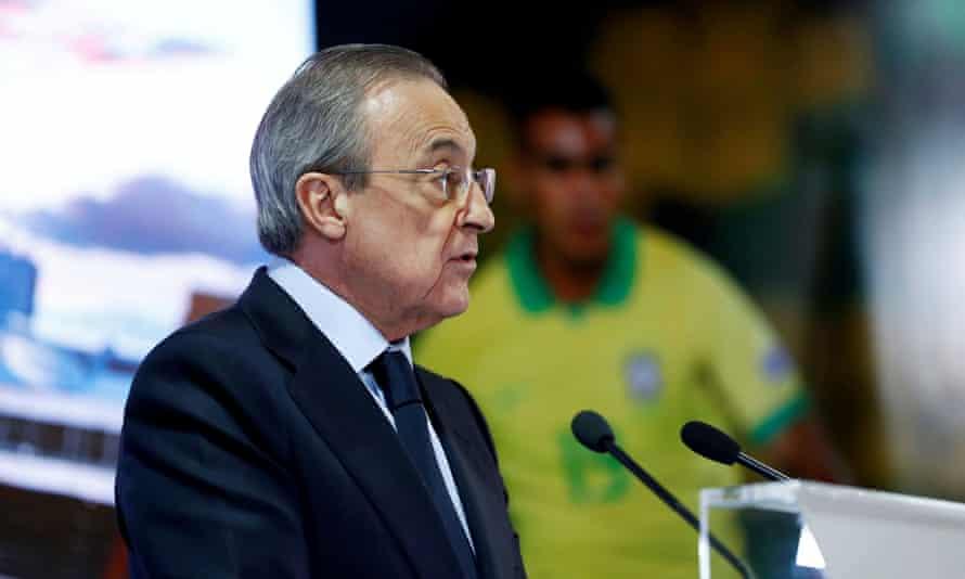 Florentino Pérez, president of Real Madrid, addresses a press conference