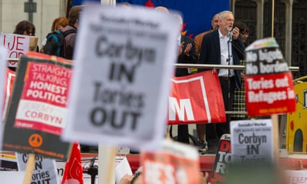 Jeremy Corbyn speaks in Parliament Square to supporters