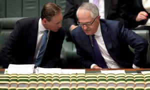 Australian prime minister Malcolm Turnbull (right) speaks to Australian environment minister Greg Hunt