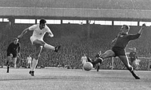 Georgi Asparuhov fires past Hungary's Kalman Meszoly to score in Bulgaria's 3-1 defeat at Old Trafford during the 1966 World Cup.