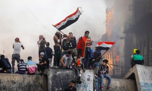 Anti-government protests continued in Baghdad on Saturday.