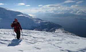 Sam Haddad hiking up the Lyngen Alps in Norway