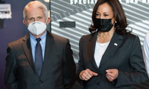 US Vice President Kamala Harris tours a Covid-19 vaccination site with Dr. Anthony Fauci (L), White House Chief Medical Adviser on Covid-19, at M&T Bank Stadium in Baltimore, Maryland, yesterday.
