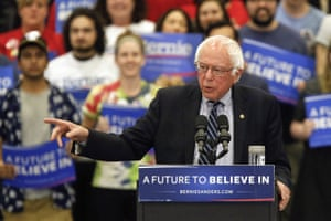 Bernie Sanders speaks during a campaign rally at Fitzgerald Fieldhouse on the University of Pittsburgh earlier today.