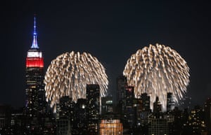 New York, US Fireworks explode by the Empire State building on the first of six nights of the Macy's 4th of July fireworks shows