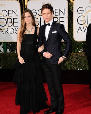 Eddie Redmayne in Gucci's bee-covered suit at January's Golden Globes.
