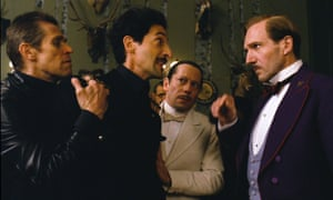 Willem Dafoe, Adrien Brody, Mathieu Amalric & Ralph Fiennes in The Grand Budapest Hotel