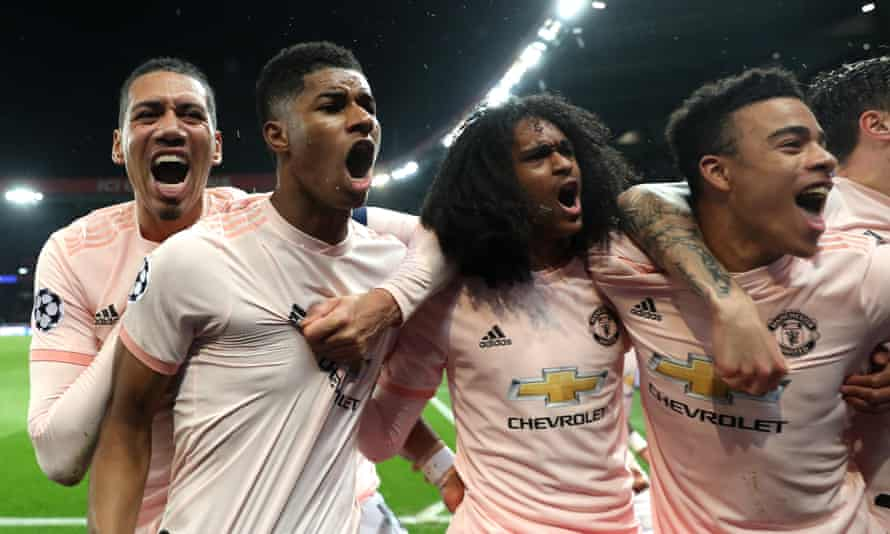 Marcus Rashford (second left) celebrates with (from left) Chris Smalling, Tahith Chong and Mason Greenwood after the late penalty that eliminated PSG.