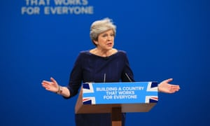 Theresa May speaking at Conservative party conference
