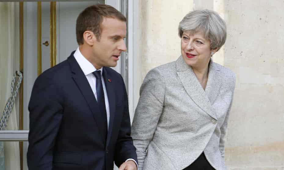 Emmanuel Macron receives Theresa May at the Élysée Palace earlier this year.