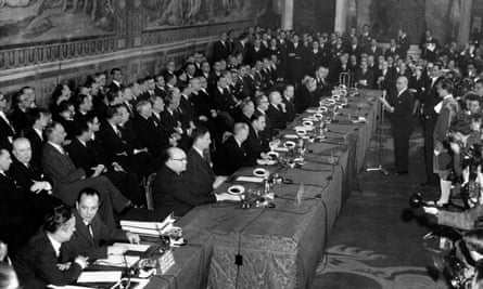 Mayor of Rome Umberto Tupini, addresses delegates of the six nations (France, Germany, Italy, Belgium, the Netherlands and Luxembourg) signing the treaty of Rome in 1957