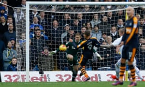 Newcastle United's Dwight Gayle scores his first goal at Elland Road.