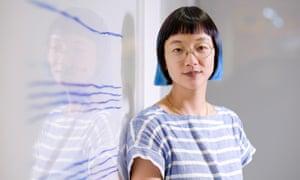 Artist Christine Sun Kim at her exhibition at Carroll Fletcher gallery in London.