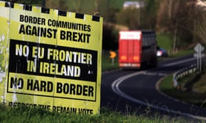 A weathered Border Communities Against Brexit billboard is seen close to the Letterkenny - Strabane border in the Irish Republic.