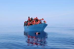 Mediterranean Sea. Members of Doctors Without Borders rescue migrants in the Mediterranean Sea