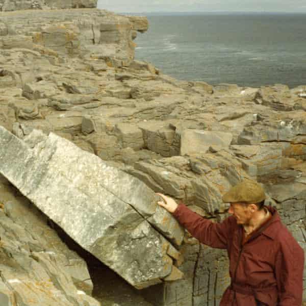 Tim Robinson at Aill na nGlasog, Árainn, in the Aran islands, 1982.