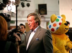 Sir Terry Wogan recording a track for Children in Need at Abbey Road studios in London