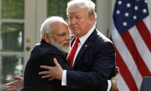 India's prime minister, Narendra Modi, greets US president Donald Trump in 2017.