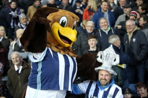 West Bromwich Albion mascot Baggie Bird greets a fan during the before loosing 2-1 against Derby County
