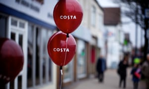 Franchises, such as Costa Coffee, now dominate the British high street