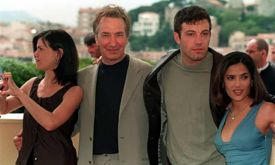 Rickman with Linda Fiorentino, Ben Affleck and Salma Hayek, promoting Dogma at Cannes in 1999.